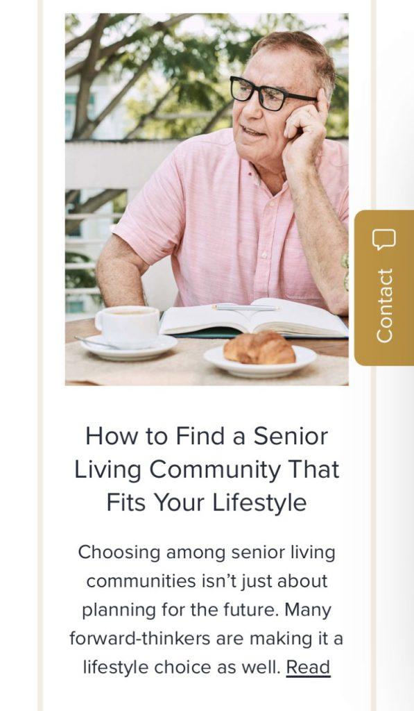 Senior living marketing content article